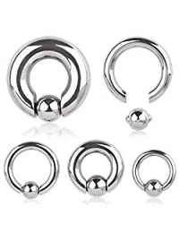 316L Surgical Steel Captive Bead Ring with Spring Dimple Ball (Sold Individually)
