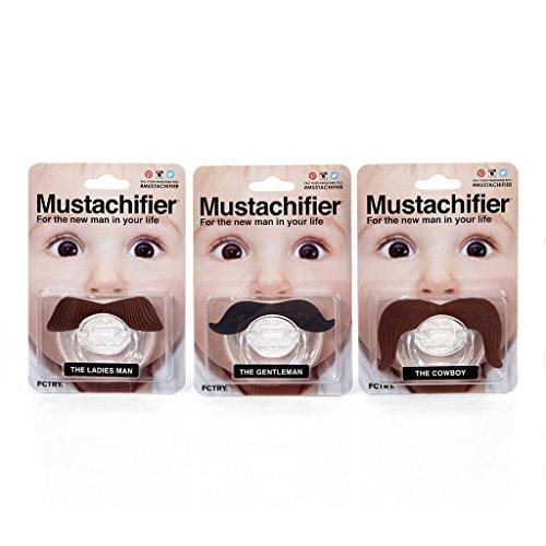 The Mustachifier Full Monty Bundle: Gentleman, Cowboy, and Ladies Man Mustache Pacifiers (Alien Baby Costume)