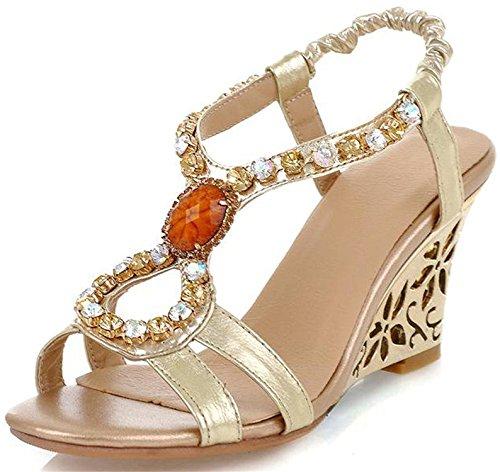 rful Summer Sandal Wedge Peep Toe Gems Slingback Heeled Sandal Gold9.5 B(M) US ()