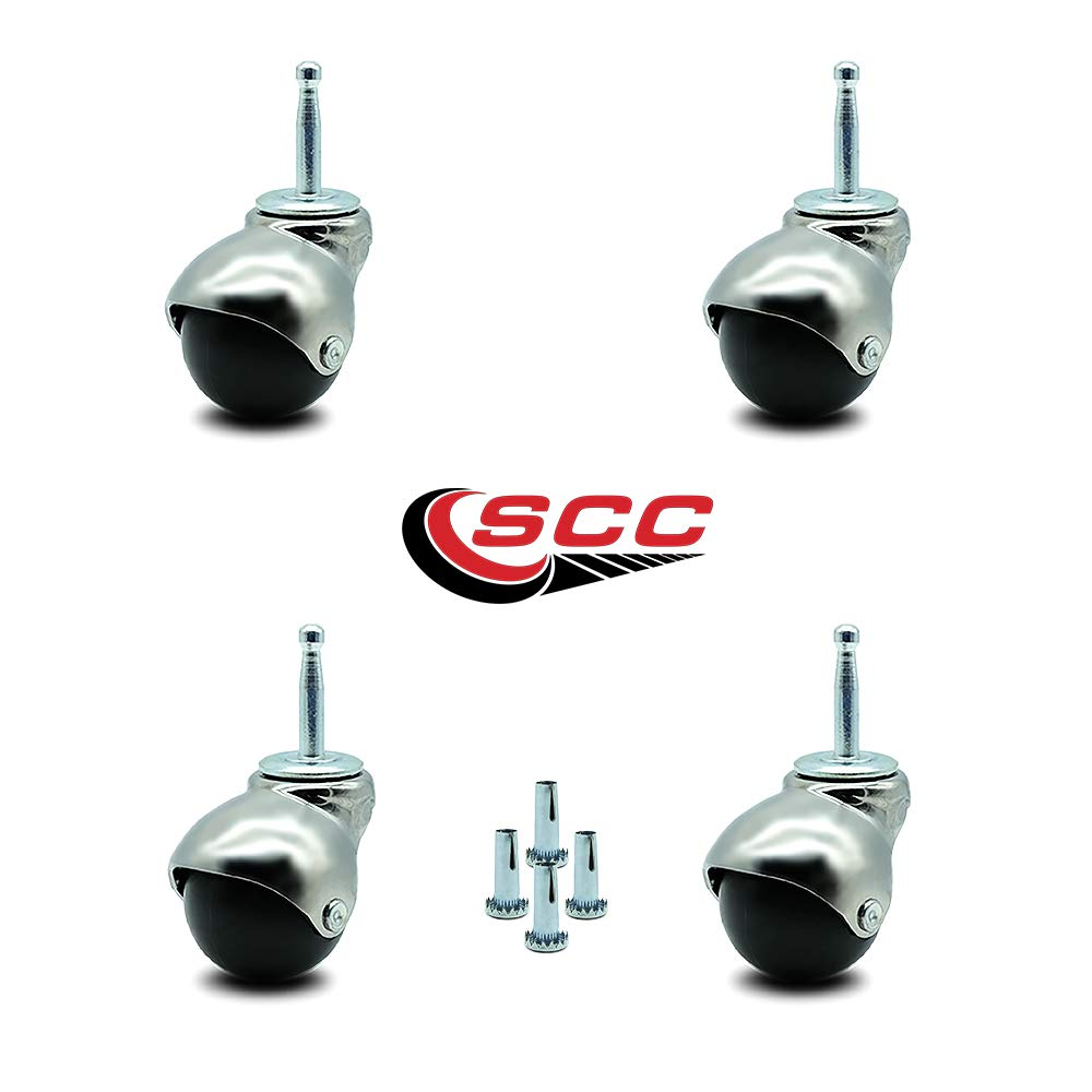 Service Caster Bright Chrome Hooded 2 Inch Swivel Ball Casters with 5/16 Grip Neck Stem -300 lbs. Total Capacity - Sockets Included - Set of 4