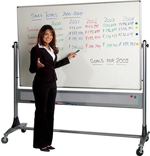Best-Rite Platinum Mobile Reversible Whiteboard Easel, 4 x 5 Feet Whiteboard Panel Size, HPL  Markerboard Surface (669RF-HH) by Best-Rite