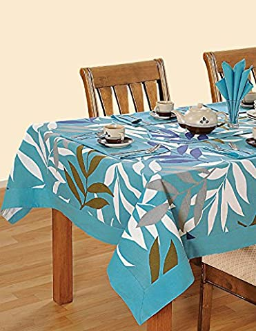 Colorful Multicolor Cotton Spring Floral Tablecloths For Dinning Tables 60 X 90 Inches, Turquoise Border