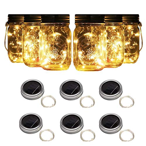 Aurora Originals Solar Decoration Lantern String Lights 6 Mason Jar Set Included for Outdoors Table Patio Garden Wedding Party