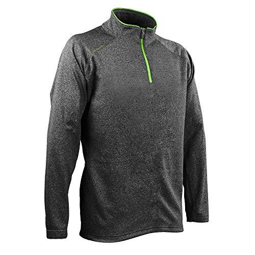 (Sun Mountain Heathered Fleece Golf Pullover Steel/Envy Large)