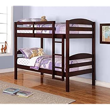 Amazon.com: Mainstays Twin Over Twin Wood Bunk Bed, Espresso ...