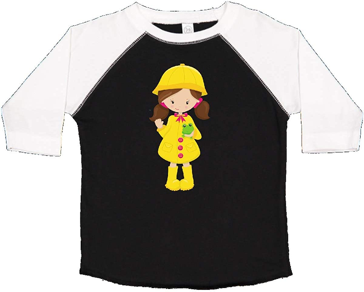 Yellow Raincoat Frog Toddler T-Shirt inktastic Girl with Brown Hair
