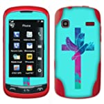 LG Xpression C395 Rumor Reflex S LN272 LN272S Xpression 2 C410 Vinyl Sticker Not a case Fincibo TM Accessories Skin Decal Cover Multicolor Dove Cross On Teal Green