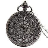 VIGOROSO Black Spider Web Vintage Retro Steampunk Pocket Watch Necklace Pandant Men Lady Gift Watch Box