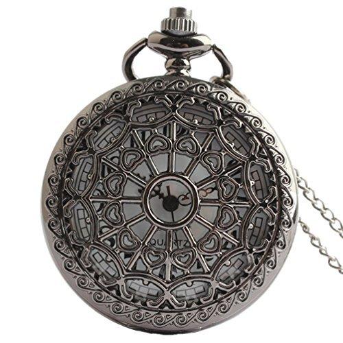 VIGOROSO Black Spider Web Vintage Retro Steampunk Pocket Watch Necklace Pandant Men Lady Gift Watch Box