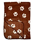 Brown Fleece 39 x 27 Inch Pet Blanket with Paw Print Pattern - Animal Supplies by bogo Brands