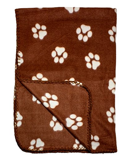 Brown Fleece 39 x 27 Inch Pet Blanket with Paw Print Pattern - Animal Supplies by bogo Brands (Gifts For Pets)