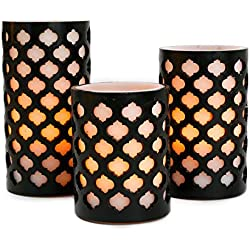 Flameless Wax Pillar Candles with Timer, White & Black, Moroccan Design, Warm White LED Glow, Batteries Included - Set of 3