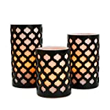 black and white bedroom Flameless Wax Pillar Candles with Timer, White & Black, Moroccan Design, Warm White LED Glow, Batteries Included - Set of 3