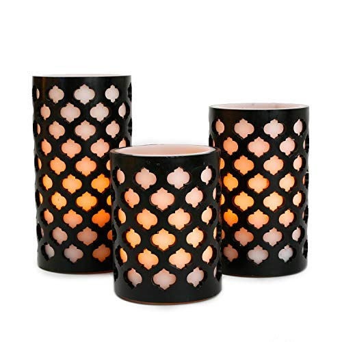 Flameless Wax Pillar Candles with Timer, White & Black, Moroccan Design, Warm White LED Glow, Batteries Included - Set of 3 by LampLust