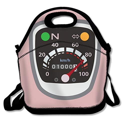PlayA Lunch Boxes Miles Speedometer Lunch Tote Bag Washable Insulated Waterproof for Men Women Kids