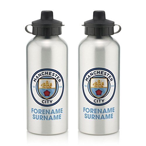 (Official Personalized Manchester City FC Bold Crest Water Bottle with Spring Hook (600ml) - Silver/White (Free Personalization))