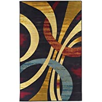 Area Rugs 8x10 Contemporary Rug Wavy Circles, Foyer, Dining Room, Living Room Multi Color Stain Resistant
