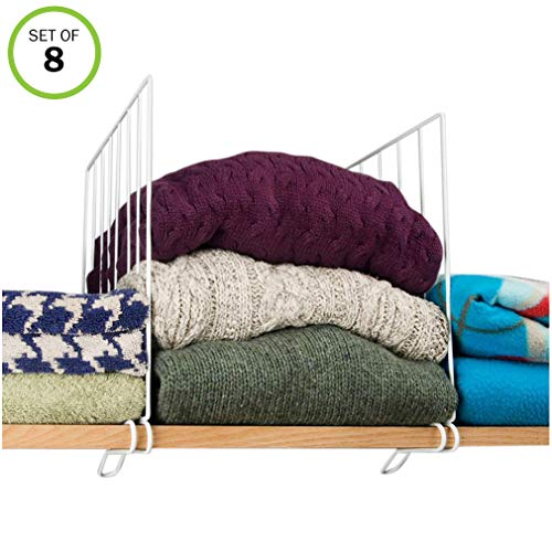 (Evelots Closet Wood Shelf Divider-New & Improved-Separator-Easy Clip-Steel-Set/8)