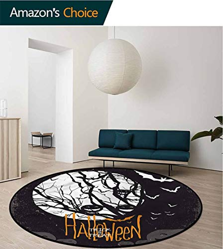 RUGSMAT Vintage Halloween Small Round Rug Carpet,Full Moon Trees Non-Slip No-Shedding Kitchen Soft Floor Mat Round-51]()