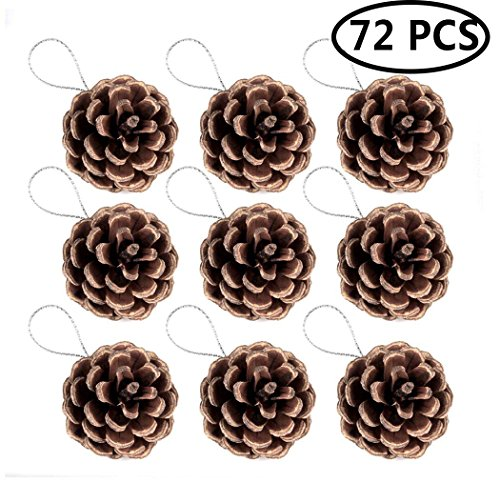 FunPa Pine Cones, 72Pcs Wedding Hanging Pinecone Ornaments Xmas Tree Ornaments Party Supplies]()