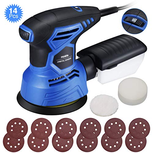 (HoLife 5-Inch Random Orbit Sander, 7 Variable Speed, 2.5A/13000RPM Hook and Loop Orbital Sander, 12Pcs Sandpapers and 2 Polisher Accessories Kit, Efficient Dust Collection System for DIY -Black + Blue)