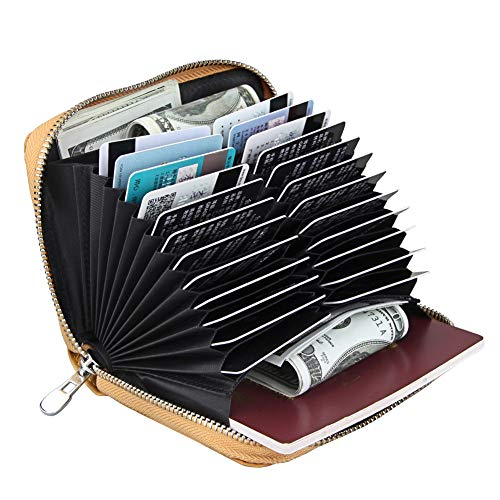 Boshiho RFID Blocking 24 Slot Credit Card Holder Wallet Real Leather Multi Card Organizer Wallet with -