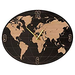 MIDWEST-CBK Small Oval World Map Wall Clock