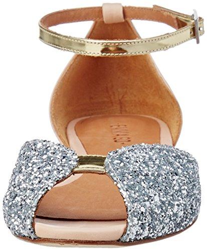Emma Go Juliette, Sandali con Cinturino alla Caviglia Donna Ivoire (Glitter Silver & Calf Nude & Metal Platino)