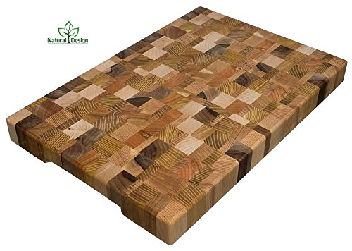 (Cutting Board 18 x 12 x 1.6 inch End Grain Chopping Block Wood: Cherry Oak Canadian Oak Ash-tree Walnut Beech Hardwood Extra Thick Durable & Resistant)