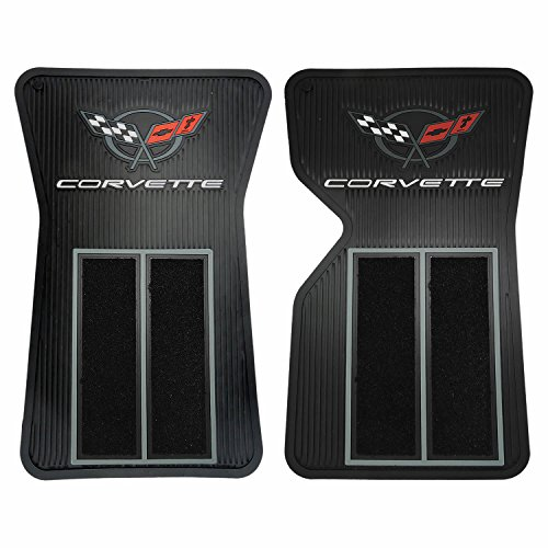 Corvette Car Mats - 2pc 68- 82 Black Corvette Semi Carpeted Front Floor Mats