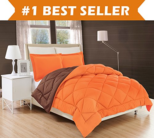 Elegant Comfort All Season Comforter and Year Round Medium Weight Super Soft Down Alternative Reversible 2-Piece Comforter Set, Twin/Twin XL, Orange/Chocolate