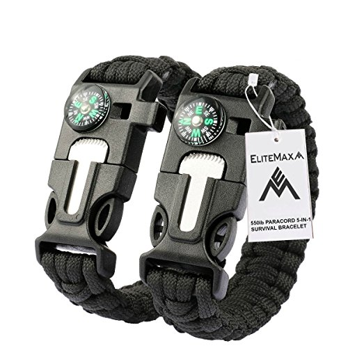 EliteMax 5-In-1 Outdoor Paracord Survival Kit - Black (Pack of 2)