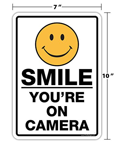 """SMILE YOU'RE ON CAMERA"" 7""x10"" Sign for Security System SignsUSA.com"