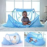 YOUDirect Baby Travel Bed - Foldable Zippered Baby Mosquito Net Soft Crib Portable Large Baby Camp Tent Pop up Folding Beach Tent Mosquito Net for 0-18 Month Baby (Blue)