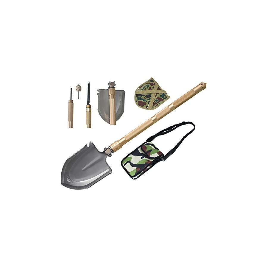HONGYETJA Compact Folding Shovel Military Portable Shovel Outdoor Tactical Spade for Hiking, Camping, Hunting, Backpacking, Trench Entrenching Tool, Car Emergency