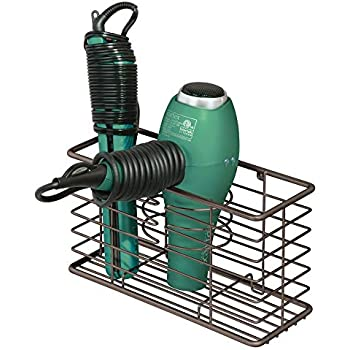 mDesign Farmhouse Metal Wire Bathroom Wall Mount Hair Care & Styling Tool Organizer Storage Basket for Hair Dryer, Flat Iron, Curling Wand, Hair Straightener, Brushes - Holds Hot Tools - Bronze