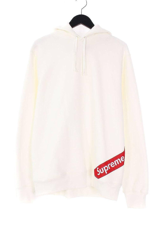 (シュプリーム) SUPREME 【18SS】【Corner Label Hooded Sweatshirt】コーナーラベルロゴプルオーバーパーカー(M/ホワイト×レッド) 中古 B07DXJ473Q