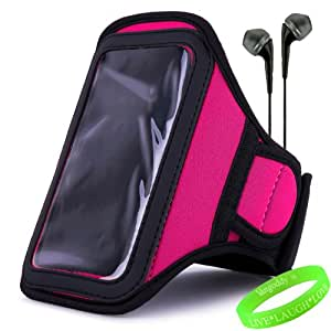 VanGoddy Active Bundle – Neoprene Sweat-proof Armband Pouch w/ Key & ID Card Holder fits Motorola Moto X Android Cell Phone // PINK MAGENTA \\ + Black Earphone Buds w/ Microphone