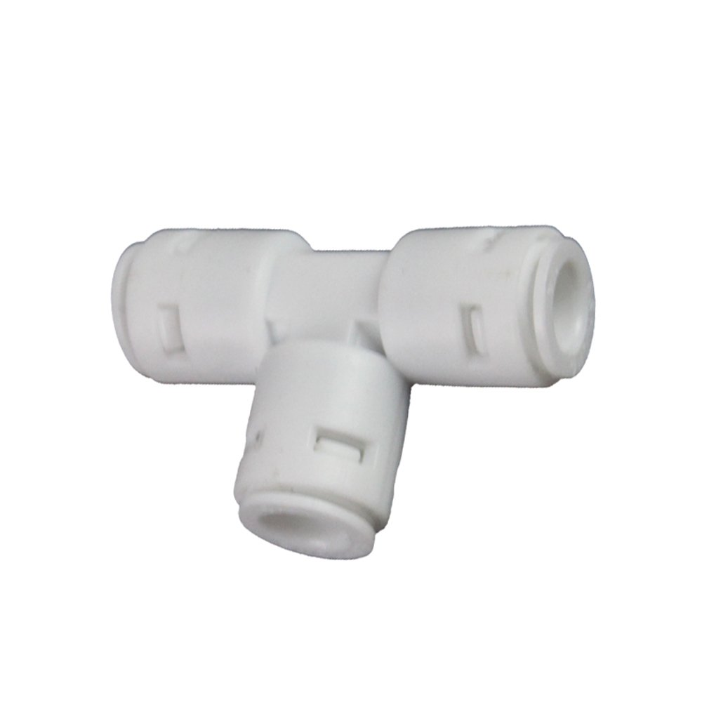 Meiduoduo New Design C Ring Free Mini white POM Quick Water Tube Fittings 1//4inch 3 way T Type Connector Push Fit Connector for RO Water System Quick Connect Fittings,Pack of 10
