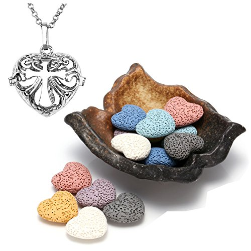 26' Long Necklace - Top Plaza Lava Rock Gemstone Aromatherapy Essential Oil Diffuser Set - Irregular Shape Ceramic Incense Burner/Warmer/Holder/Bowl With 14Pcs Heart Lava Stone Beads,Silver Locket Pendant Necklace