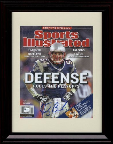 Framed Tedy Bruschi Sports Illustrated Autographレプリカ印刷   B01N63A7EX