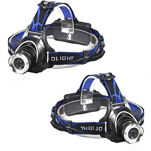 2 X LED Headlamp - Great for Camping, Hiking, Dog Walking, Kids,Waterproof Hard Hat Light, Bright Head Lights, Camping, Running flashlights,Adjustable Headband,Zoomable,3 Modes,Super Bright ()