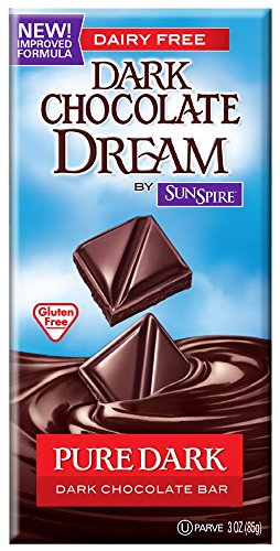 SunSpire Dream Dark Chocolate Bar, Pure Dark, 3 Ounce (Pack of (Non Dairy Products)