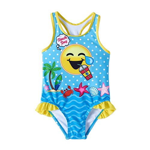 02d0b61b7f emoji Emojination Girls Toddler Beach Day One Piece Swim Wear Swimsuit With  UPF 50 Sun Protection Size 2T-4T