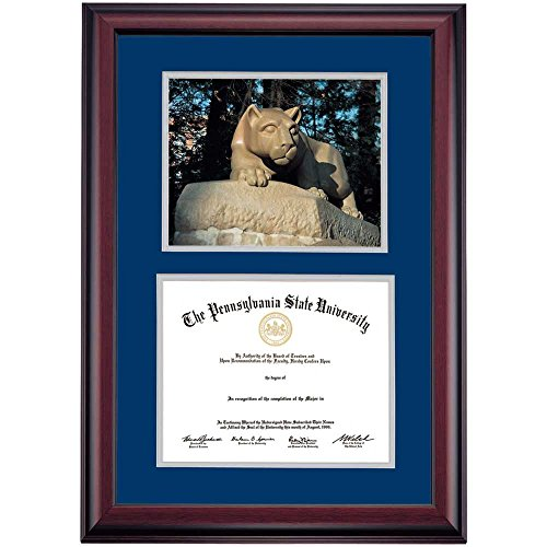 Penn State Nittany Lions Diploma Frame Navy Gray Matting Photograph by Campus Linens