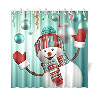 Curtains Ideas christmas curtain fabric : Amazon.com: Merry Christmas Snowman Waterproof Fabric Bathroom ...
