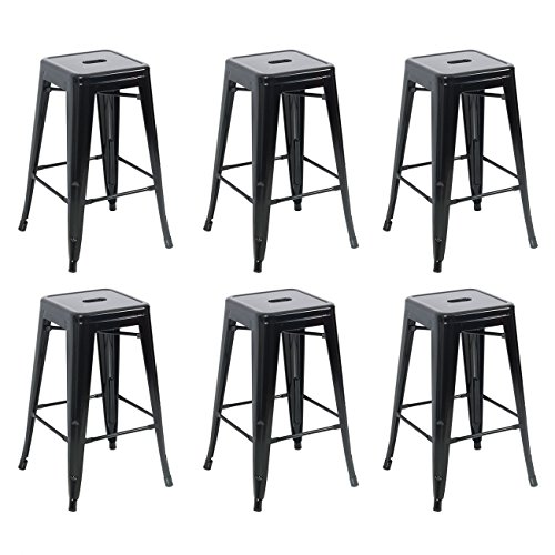 Belleze 26-inch Metal Counter Vintage Bar Stools (Set of 6), Black