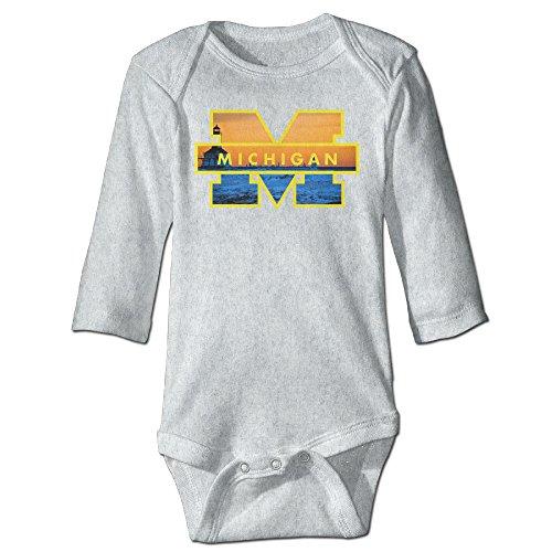 Baboy Michigan Wolverine Long Sleeve Bodysuit Baby Onesie Ash 6 M]()
