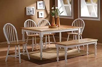Surprising Boraam Farmhouse 6 Piece Dining Room Set White Natural Machost Co Dining Chair Design Ideas Machostcouk