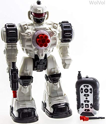 WolVol (Large Version) 10 Channel Remote Control Robot Police Toy with Flashing Lights and Sounds, Great Action Toy for -